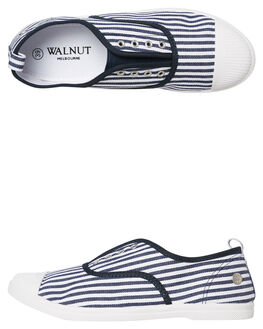 NAVY STRIPE WOMENS FOOTWEAR WALNUT SNEAKERS - EURONSTRP