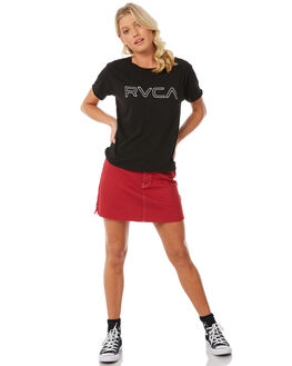 WASHED BLACK WOMENS CLOTHING RVCA TEES - R281692WBK