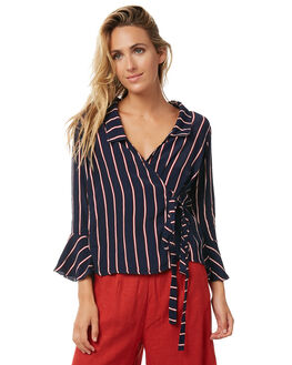 NAVY STRIPE OUTLET WOMENS RUE STIIC FASHION TOPS - S118-70NVYST