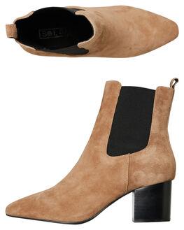 TOBACCO SUEDE WOMENS FOOTWEAR SOL SANA BOOTS - SS192W428TOB