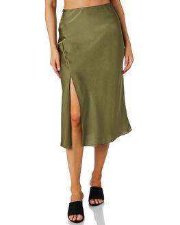 OLIVE WOMENS CLOTHING LULU AND ROSE SKIRTS - LU23801OLIVE