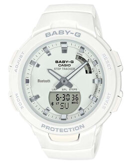 WHITE WOMENS ACCESSORIES BABY G WATCHES - BSAB100-7AWHT