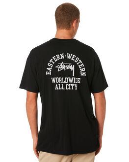 BLACK MENS CLOTHING STUSSY TEES - ST091005BLK