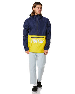 NAVY YELLOW MENS CLOTHING HUFFER JACKETS - MJA83S3801NYLW
