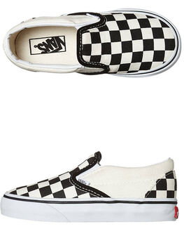 BLACK WHITE CHECKER BOARD KIDS BOYS VANS FOOTWEAR - VN-0EX8BWWBWCB