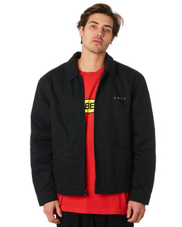 BLACK MENS CLOTHING OBEY JACKETS - 121800345BLK