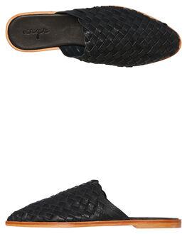 BLACK LEATHER WOMENS FOOTWEAR URGE FLATS - URG17171BLK