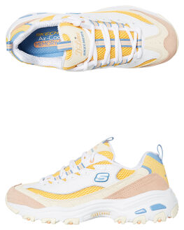 WHITE YELLOW WOMENS FOOTWEAR SKECHERS SNEAKERS - 13146WYL