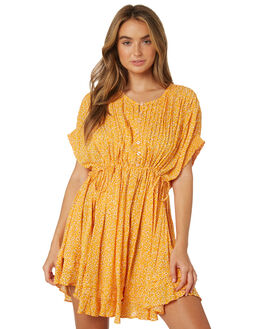 YELLOW COMBO WOMENS CLOTHING FREE PEOPLE DRESSES - OB921632-7002