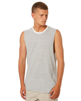 NAVY WHITE OUTLET MENS ACADEMY BRAND SINGLETS - 19S204NVYW