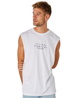 WHITE OUTLET MENS THRILLS SINGLETS - TS8-113AWHT