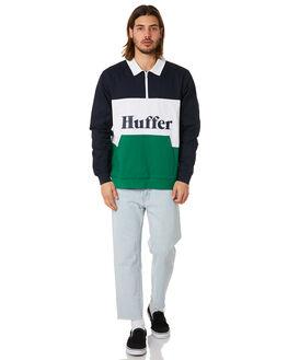 NAVY GREEN MENS CLOTHING HUFFER JUMPERS - MCR83S3801NGRN