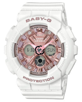 WHITE ROSE GOLD WOMENS ACCESSORIES BABY G WATCHES - BA130-7A1WRG