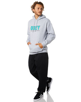HEATHER GREY MENS CLOTHING OBEY JUMPERS - 111731786HGRY
