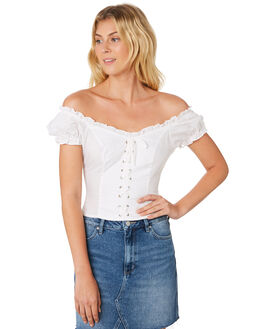 WHITE OUTLET WOMENS LULU AND ROSE FASHION TOPS - LU23676WHT