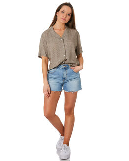 OLIVE FLORAL WOMENS CLOTHING COOLS CLUB FASHION TOPS - 307-CW3OLVF