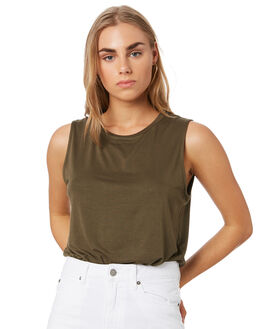OLIVE WOMENS CLOTHING BETTY BASICS SINGLETS - BB542SP19OLV