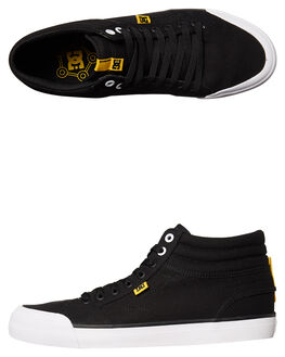 BLACK WHITE YELLOW MENS FOOTWEAR DC SHOES SNEAKERS - ADYS300383BWY