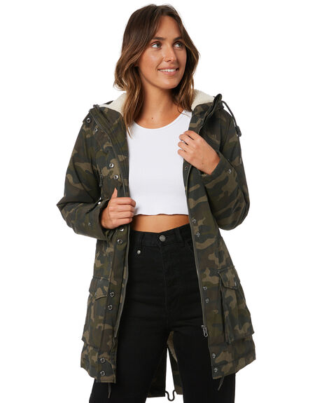 CAMOUFLAGE WOMENS CLOTHING VOLCOM JACKETS - B1732052CAM