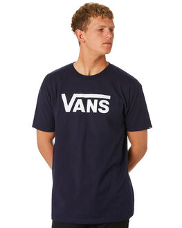 NAVY WHITE MENS CLOTHING VANS TEES - VN-0GGGNAVNVYWH