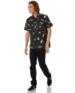 BLACK MENS CLOTHING AFENDS SHIRTS - M182200BLK