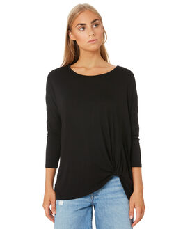 BLACK WOMENS CLOTHING BETTY BASICS TEES - BB533T20BLK