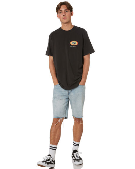 WASHED BLACK MENS CLOTHING RIP CURL TEES - CTERS98264