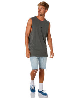 WASHED BLACK MENS CLOTHING RVCA SINGLETS - R193004WSBLK
