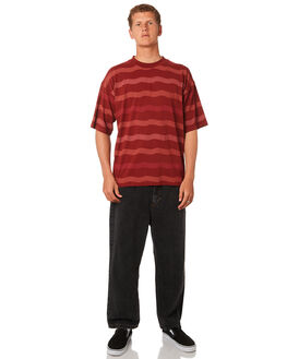 BRICK RED MENS CLOTHING POLAR SKATE CO. TEES - PSCWAVYBKRED