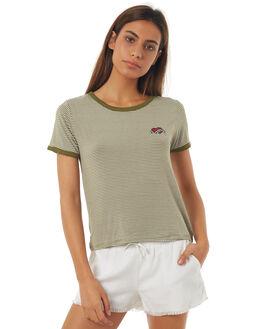 KHAKI STRIPE WOMENS CLOTHING ALL ABOUT EVE TEES - 6401005KHAST
