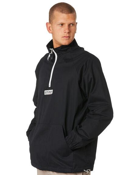 BLACK MENS CLOTHING STUSSY JACKETS - ST096503BLACK