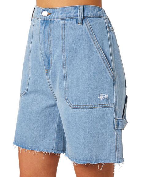 BLUE DENIM WOMENS CLOTHING STUSSY SHORTS - ST192604BLDNM