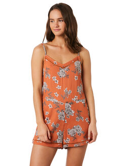RUST FLORAL WOMENS CLOTHING O'NEILL PLAYSUITS + OVERALLS - 5421803RSF