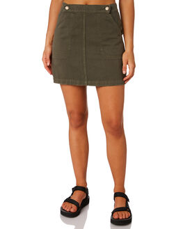 ARMY GREEN WOMENS CLOTHING THRILLS SKIRTS - WTS9-306FARMY