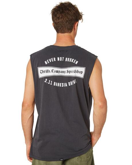 VINTAGE BLACK MENS CLOTHING THRILLS SINGLETS - TR8-105VBVNBLK