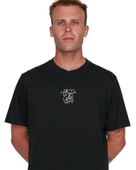 BLACK MENS CLOTHING RVCA TEES - RV-R108049-BLK