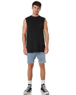 BLACK MENS CLOTHING RUSTY SINGLETS - MSM0257BLK