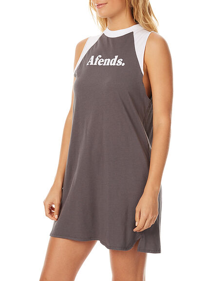 CHARCOAL WHITE WOMENS CLOTHING AFENDS DRESSES - 51-03-121CHAR