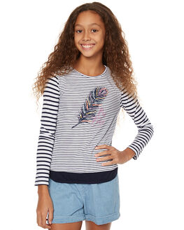 NAVY WHITE KIDS GIRLS EVES SISTER TEES - 9990075STR