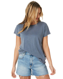 DENIM BLUE WOMENS CLOTHING SILENT THEORY TEES - 6085027DEN