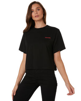 BLACK WOMENS CLOTHING HUFFER TEES - WTE92S72-407BLK