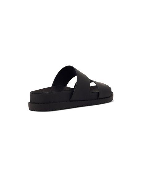 BLACK LEATHER WOMENS FOOTWEAR ROC BOOTS FASHION SANDALS - TAROTWL-BLKFG-36