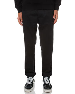 BLACK RINSED MENS CLOTHING CARHARTT PANTS - I015416-89-02BLK