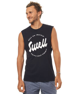 WASHED BLACK MENS CLOTHING SWELL SINGLETS - S5171273WSHBK