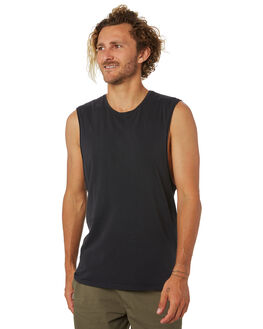 FADED BLACK MENS CLOTHING SILENT THEORY SINGLETS - 40X0025FBLK