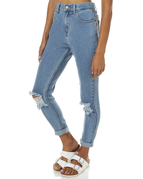 STONE BLUE WOMENS CLOTHING AFENDS JEANS - 53-01-019STB