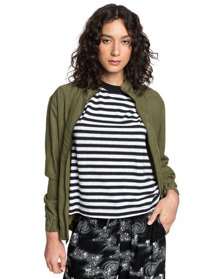BURNT OLIVE WOMENS CLOTHING QUIKSILVER JACKETS - EQWJK03010-GPZ0
