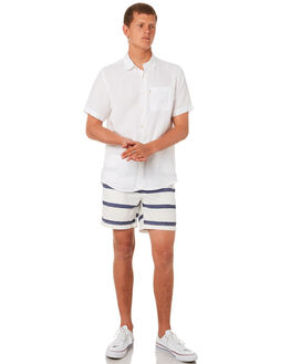WHITE NAVY STRIPE MENS CLOTHING ACADEMY BRAND BOARDSHORTS - 19S720WHNVS