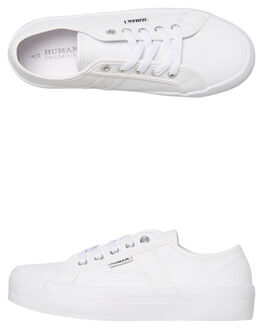 WHITE LEATHER WOMENS FOOTWEAR HUMAN FOOTWEAR SNEAKERS - CASSWLTR