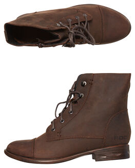 BROWN BUFF WOMENS FOOTWEAR ROC BOOTS AUSTRALIA BOOTS - TJRWW1638BRNB